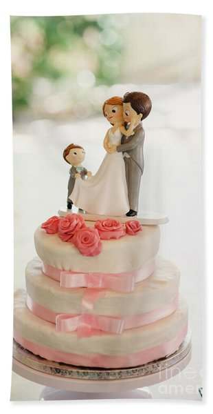 Desserts And Wedding Cake With Very Sweet Cupcakes At An Event. Hand Towel