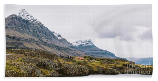 High Icelandic Or Scottish Mountain Landscape With High Peaks And Dramatic Colors Hand Towel