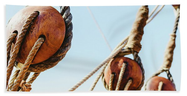 Rigging And Ropes On An Old Sailing Ship To Sail In Summer. Hand Towel