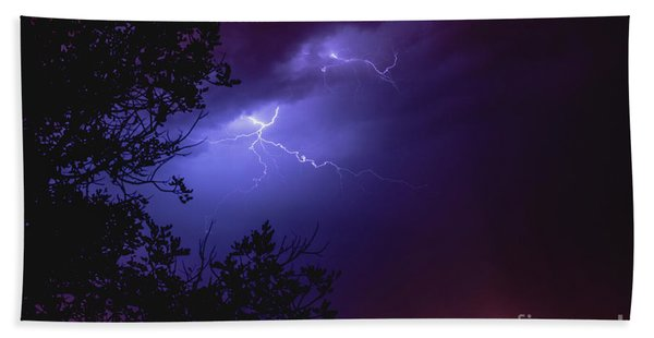 Rays In A Night Storm With Light And Clouds. Hand Towel