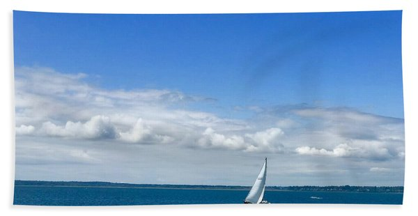 A Single Sailboat In Blue Hand Towel
