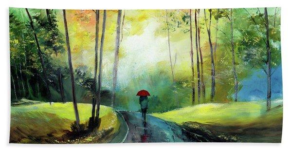 A Walk In The Rain Hand Towel