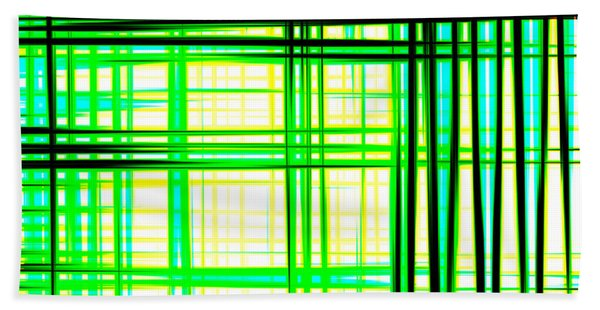 Abstract Design With Lines Squares In Green Color Waves - Pl409 Bath Towel