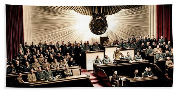 Adolf Hitler Declaring War On America  Dec  11th  1941 Hand Towel