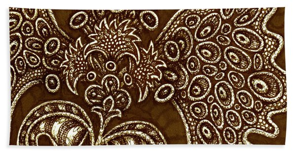 Bath Towel featuring the drawing Alien Bloom 6 by Amy E Fraser
