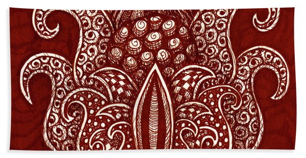 Bath Towel featuring the drawing Alien Bloom 8 by Amy E Fraser