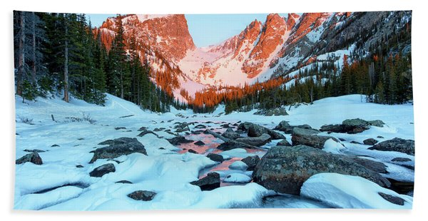 Alpenglow At Dream Lake Rocky Mountain National Park Bath Towel