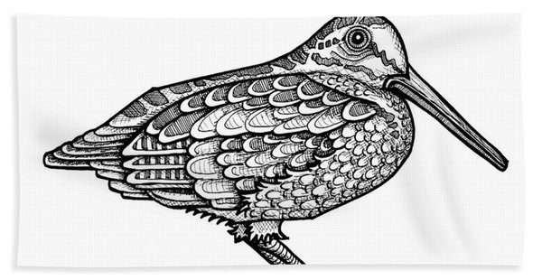 Bath Towel featuring the drawing American Woodcock by Amy E Fraser