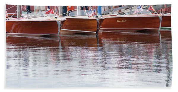 Antique Classic Wooden Boats In A Row Panorama 81112p Bath Towel