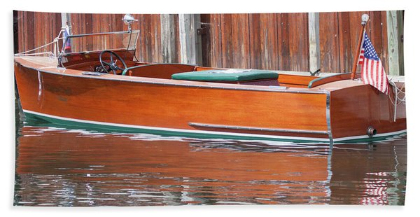 Antique Wooden Boat By Dock 1302 Bath Towel