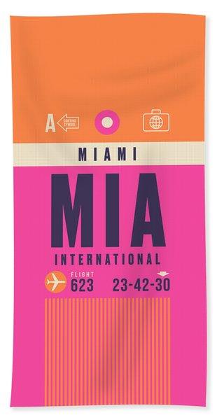 Retro Airline Luggage Tag - Mia Miami Bath Towel