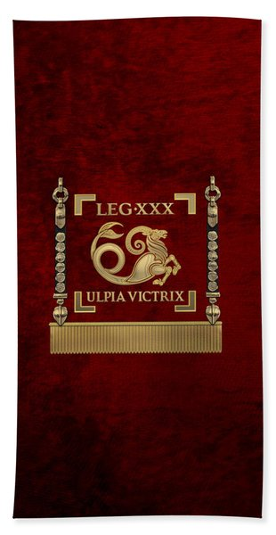 Standard Of The 30th Legion Ulpia Victrix - Vexillum Of The Trajan's Victorious Thirtieth Legion Bath Towel
