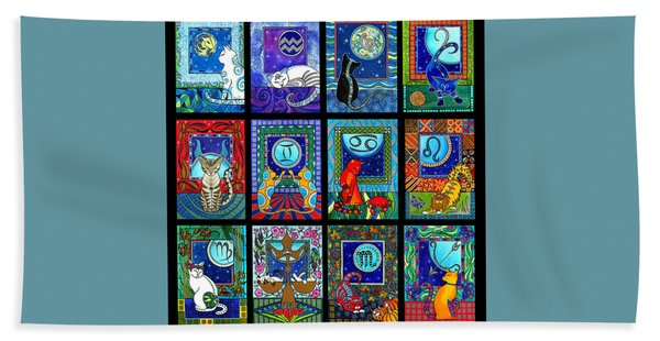 Astrology Cat Zodiacs Bath Towel