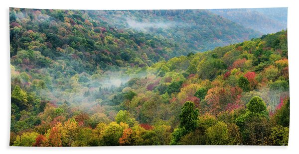Autumn Hillsides With Mist Bath Towel