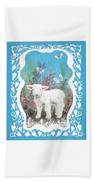 Baby Lamb With White Butterflies Hand Towel