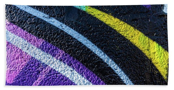 Background With Wall Texture Painted With Colorful Lines. Bath Towel