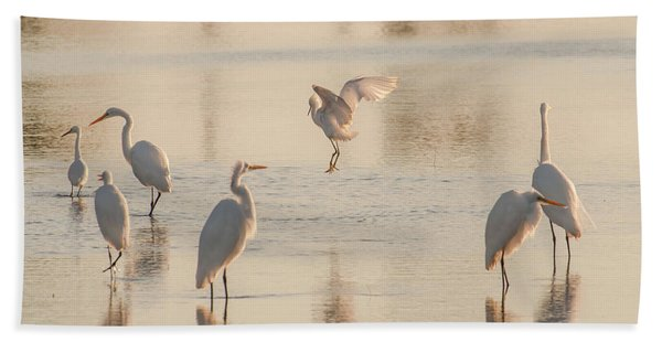 Ballet Of The Egrets Bath Towel