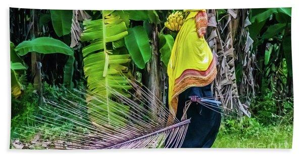 Banana Harvest, Zanzibar, Tanzania Bath Towel