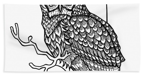 Bath Towel featuring the drawing Barred Owl by Amy E Fraser