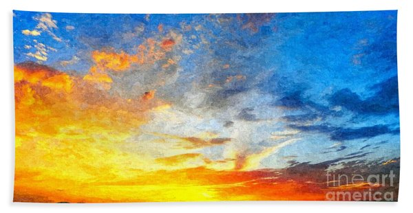 Beautiful Sunset In Landscape In Nature With Warm Sky, Digital A Hand Towel
