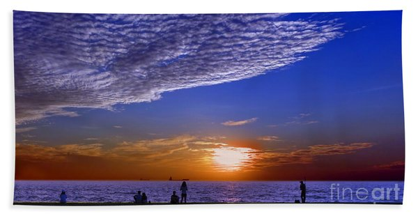 Beautiful Sunset With Ships And People Hand Towel