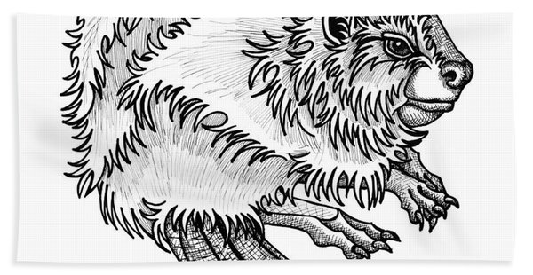 Bath Towel featuring the drawing Beaver by Amy E Fraser