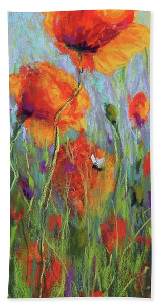 Bees And Poppies Bath Towel