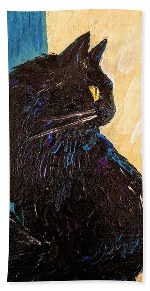 Black Cat In Sunlight Hand Towel