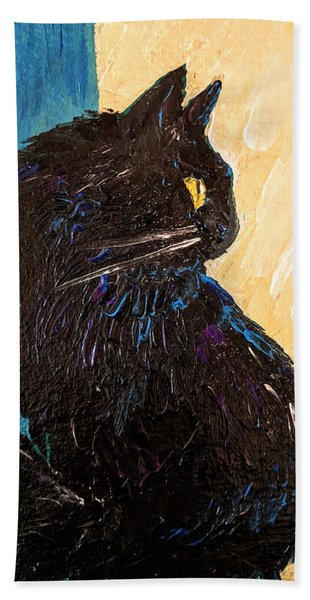 Black Cat In Sunlight Bath Towel