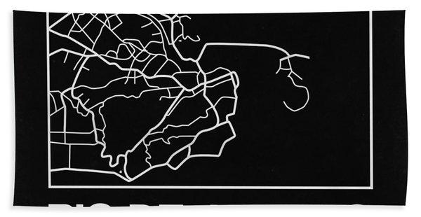 Black Map Of Rio De Janeiro Hand Towel