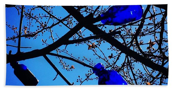 Blue Bottles In Tree Hand Towel