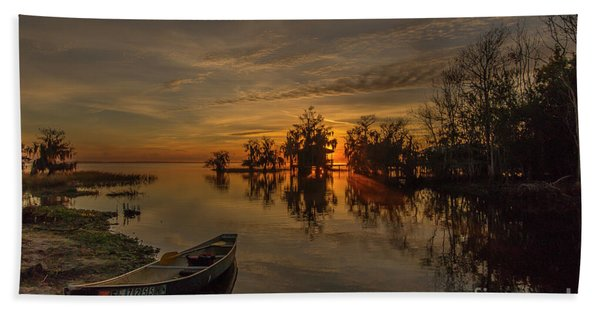 Bath Towel featuring the photograph Blue Cypress Canoe by Tom Claud