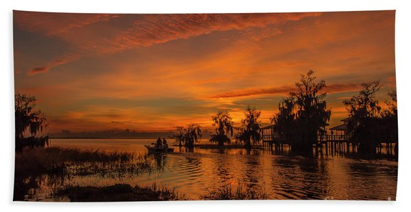 Bath Towel featuring the photograph Blue Cypress Sunrise With Boat by Tom Claud