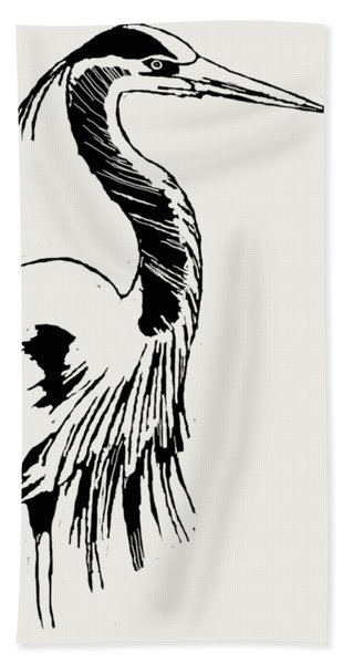 Blue Heron On Waves Hand Towel