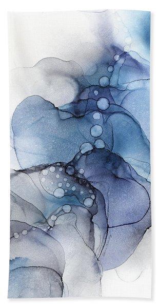 Blue Petal Dots Whispy Abstract Painting Bath Towel