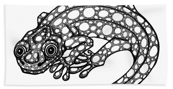 Bath Towel featuring the drawing Blue Spotted Salamander by Amy E Fraser