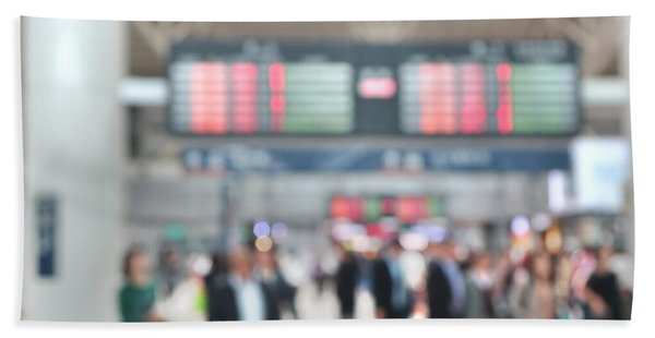 Blurred Background Of Busy Transportation Hub Hand Towel