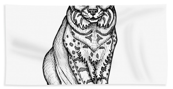 Bath Towel featuring the drawing Bobcat by Amy E Fraser