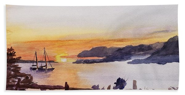 Brakey Bay Sunset Hand Towel