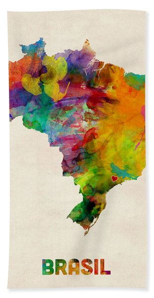Brazil Watercolor Map Custom Heart Hand Towel