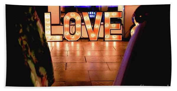 Bright Wooden Letters With Word Love In A Party Hand Towel