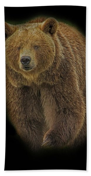 Bath Towel featuring the digital art Brown Bear In Darkness by Larry Linton