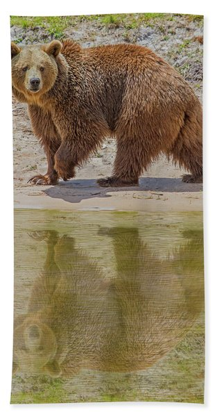 Bath Towel featuring the photograph Brown Bear Reflection by Larry Linton