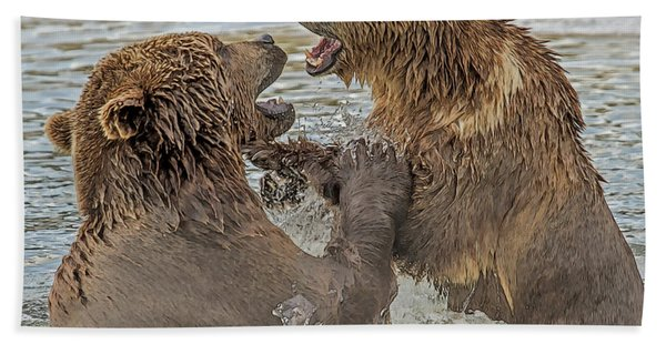 Bath Towel featuring the digital art Brown Bears Fighting by Larry Linton