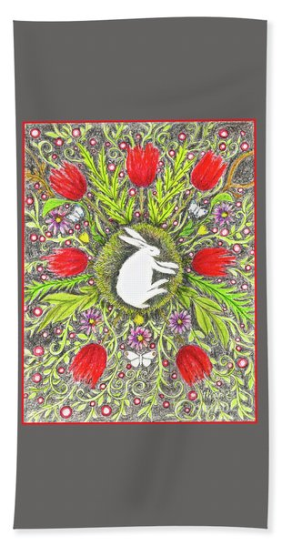 Bunny Nest With Red Flowers And White Butterflies Bath Towel