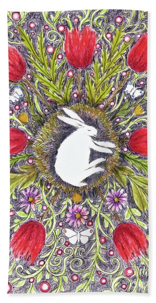 Bunny Nest With Red Flowers Variation Bath Towel