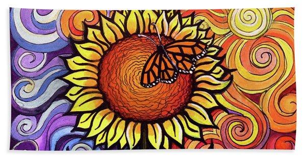 Butterfly Sunflower Bath Towel