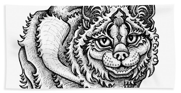 Bath Towel featuring the drawing Canada Lynx by Amy E Fraser