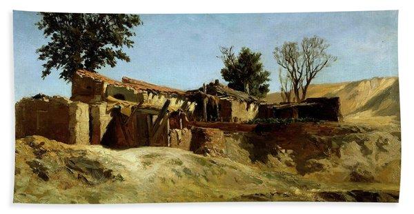 Carlos De Haes / 'tile Factories On Principe Pio Hill', Ca. 1872, Spanish School. Bath Towel