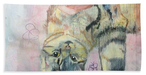 Playful Cat Named Simba Hand Towel